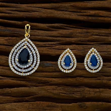 51654 CZ Delicate Pendant Set with 2 tone plating