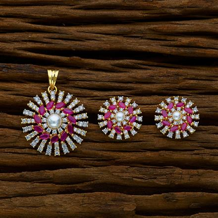 51660 CZ Classic Pendant Set with 2 tone plating