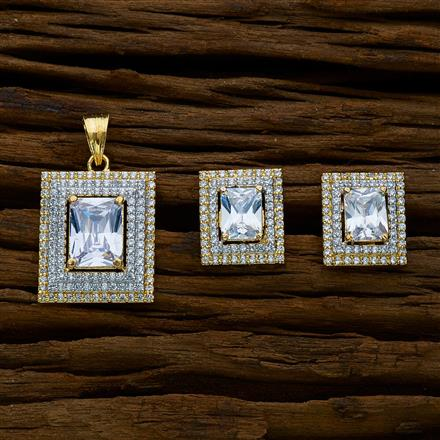 51665 CZ Classic Pendant Set with 2 tone plating