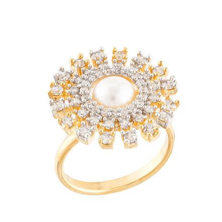 51741 CZ Classic Ring with 2 tone plating