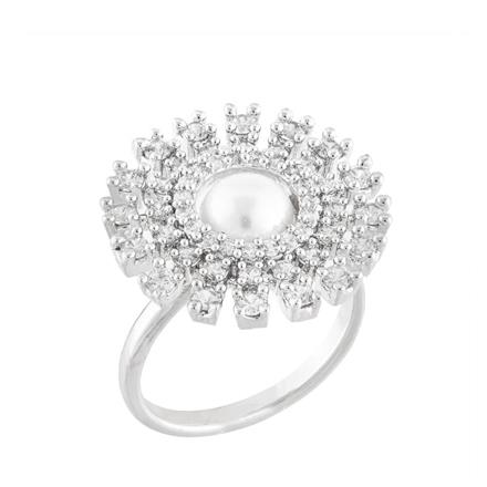 51742 CZ Classic Ring with rhodium plating