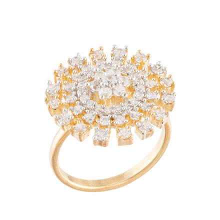 51745 CZ Classic Ring with 2 tone plating