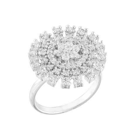 51746 CZ Classic Ring with rhodium plating