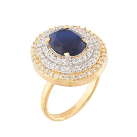 51753 CZ Classic Ring with 2 tone plating