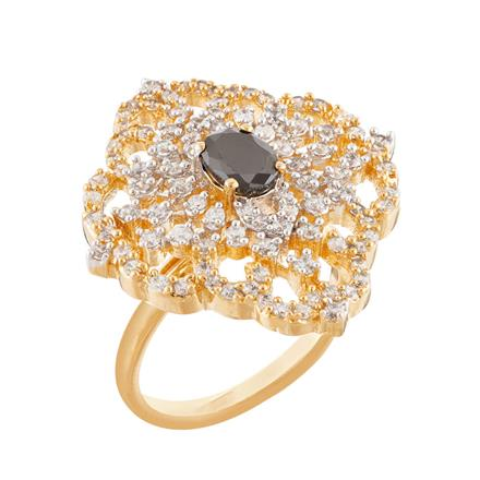 51755 CZ Classic Ring with 2 tone plating