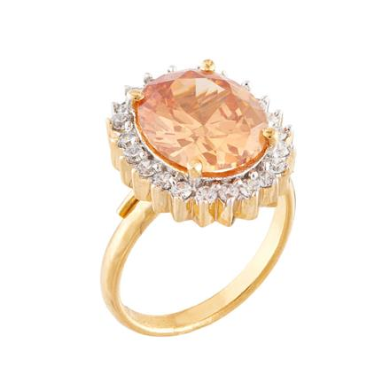 51756 CZ Classic Ring with 2 tone plating