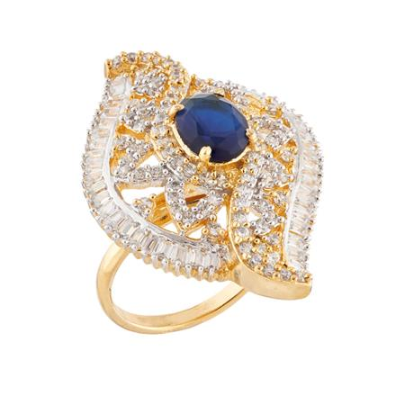 51757 CZ Classic Ring with 2 tone plating