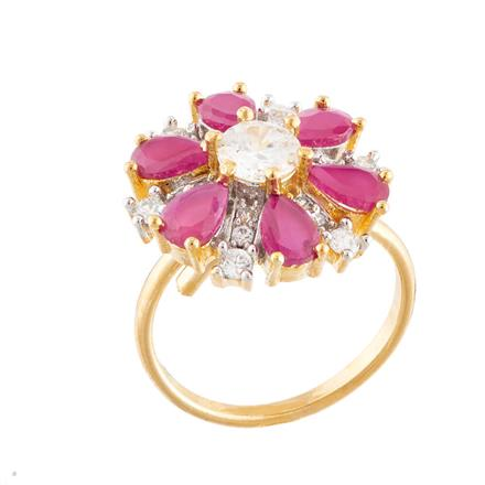 51758 CZ Classic Ring with 2 tone plating