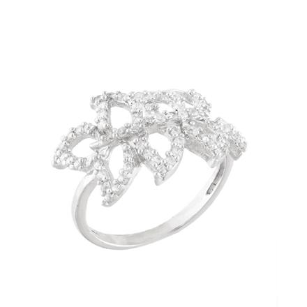 51761 CZ Classic Ring with rhodium plating