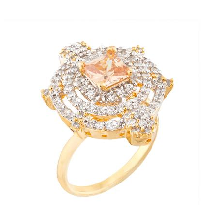 51764 CZ Classic Ring with 2 tone plating
