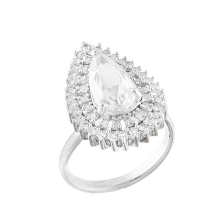 51765 CZ Classic Ring with rhodium plating