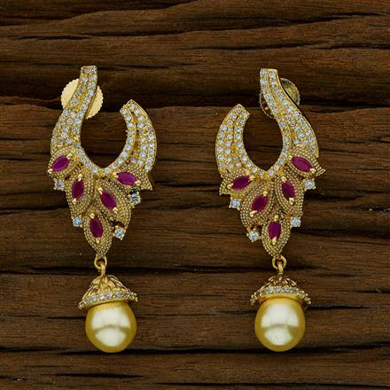 51783 CZ Short Earring with gold plating