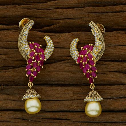 51784 CZ Short Earring with gold plating