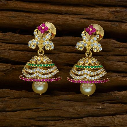 51885 American Diamond Jhumki with gold plating