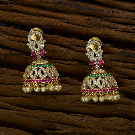 51886 American Diamond Jhumki with gold plating