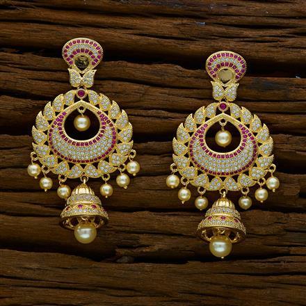 51887 American Diamond Jhumki with gold plating