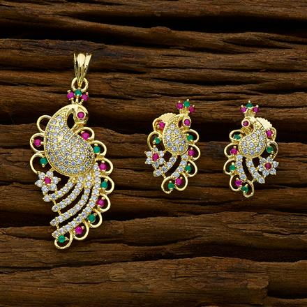 51891 CZ Peacock Pendant Set with gold plating