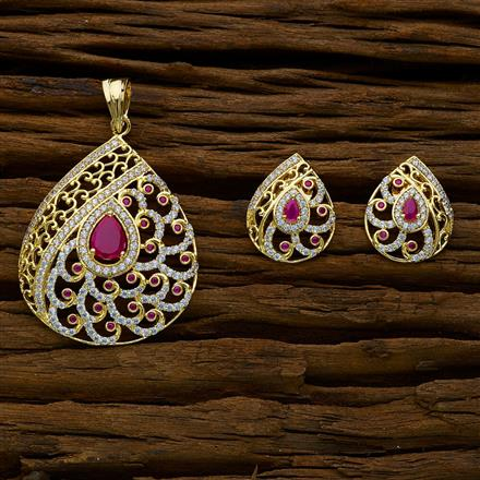 51892 CZ Classic Pendant Set with gold plating