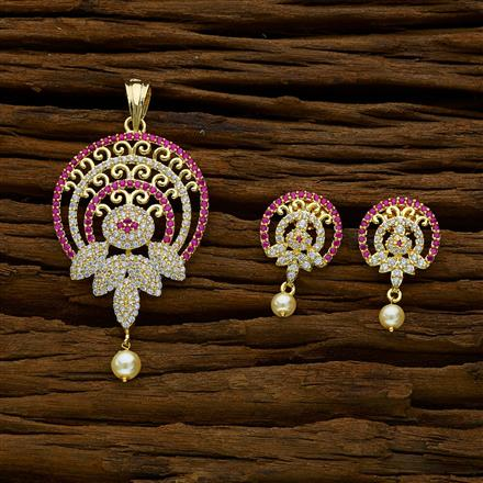 51893 CZ Classic Pendant Set with gold plating