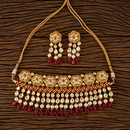 520004 Kundan Choker Necklace With Gold Plating