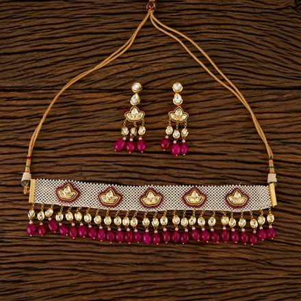 520005 Kundan Choker Necklace With Gold Plating