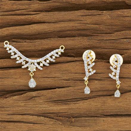 52135 CZ Delicate Mangalsutra with 2 tone plating