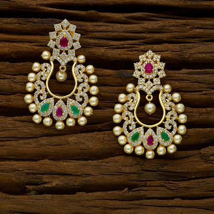 52160 CZ Chand Earring with gold plating