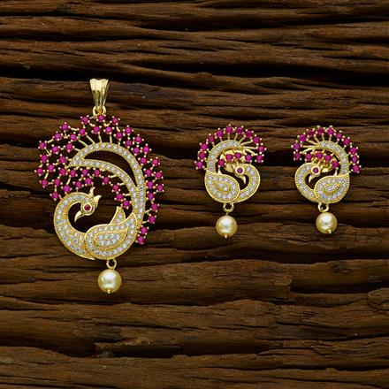 52164 CZ Peacock Pendant Set with gold plating