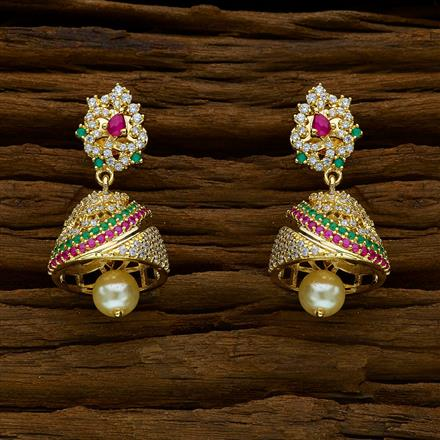 52273 American Diamond Jhumki with gold plating