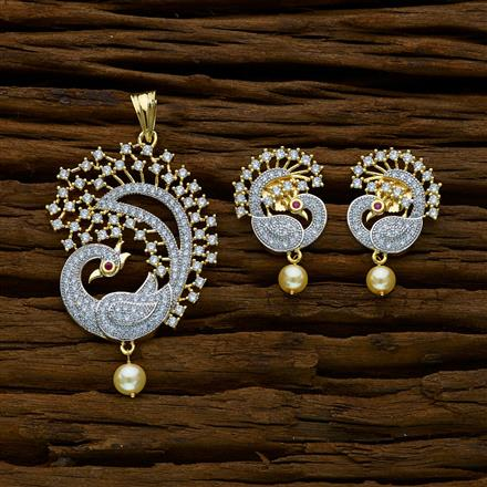 52276 CZ Peacock Pendant Set with 2 tone plating