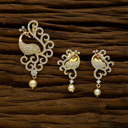 52280 CZ Peacock Pendant Set with gold plating