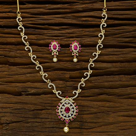 52381 CZ Delicate Necklace with gold plating