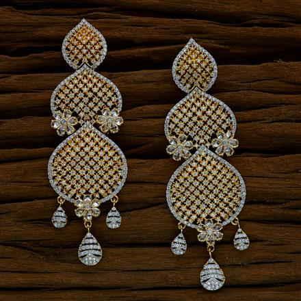 52529 CZ Long Earring with 2 tone plating