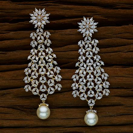 52532 CZ Long Earring with 2 tone plating