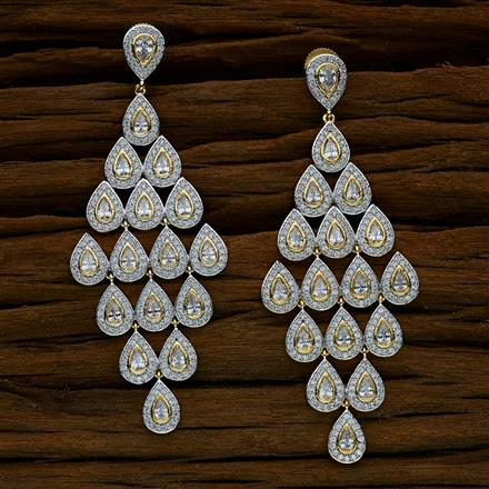 52533 CZ Long Earring with 2 tone plating