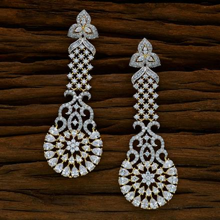 52534 CZ Long Earring with 2 tone plating