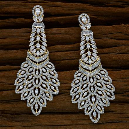 52535 CZ Long Earring with 2 tone plating