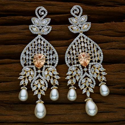 52538 CZ Long Earring with 2 tone plating