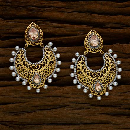 52544 CZ Chand Earring with 2 tone plating