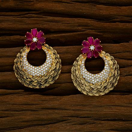 52546 CZ Chand Earring with gold plating
