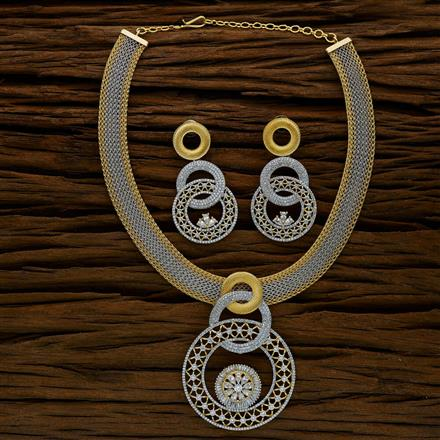 52563 CZ Classic Necklace with 2 tone plating