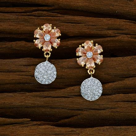 52569 CZ Delicate Earring with 2 tone plating