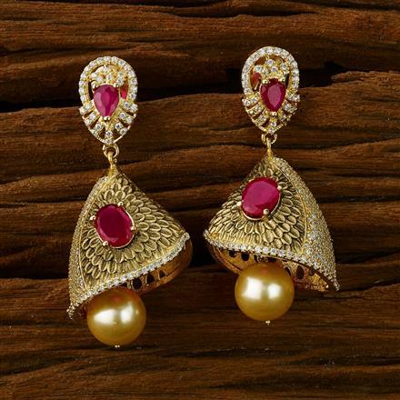 52573 American Diamond Jhumki with gold plating