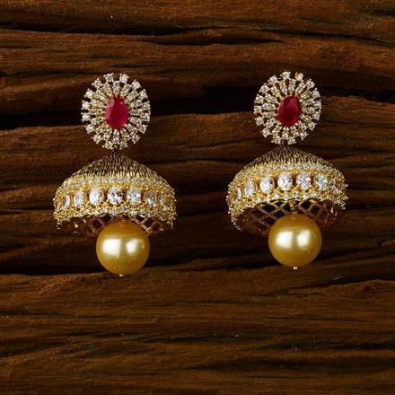 52575 American Diamond Jhumki with gold plating