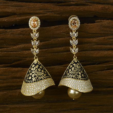 52576 American Diamond Jhumki with gold plating