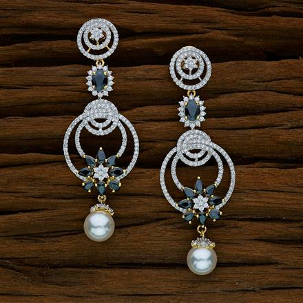 52577 CZ Long Earring with 2 tone plating