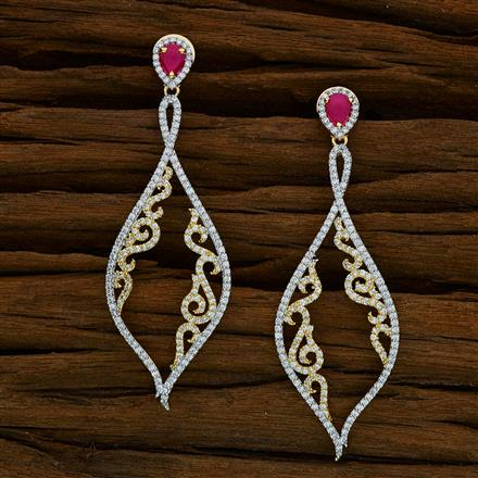 52578 CZ Delicate Earring with 2 tone plating