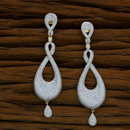 52580 CZ Long Earring with 2 tone plating