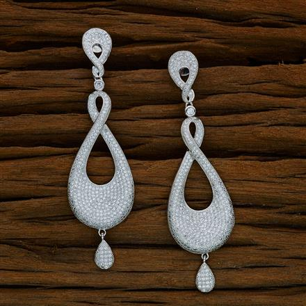 52581 CZ Long Earring with rhodium plating