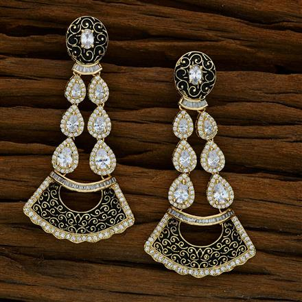52586 CZ Long Earring with gold plating